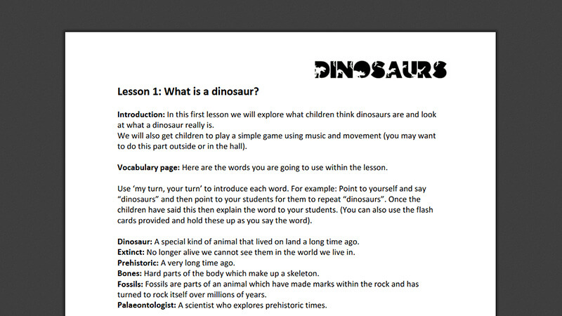 Lesson plan: What is a dinosaur?