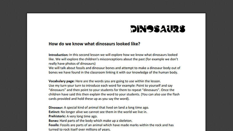 Lesson plan: How do we know what dinosaurs looked like?