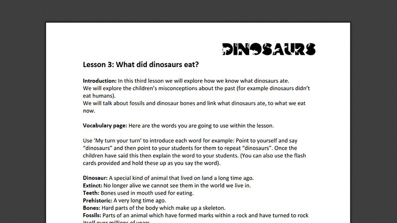 Lesson plan: What did dinosaurs eat?