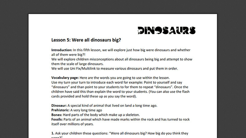 Lesson plan: Were all dinosaurs big?