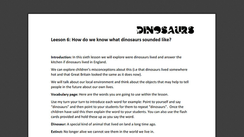 Lesson plan: What did dinosaurs sound like?