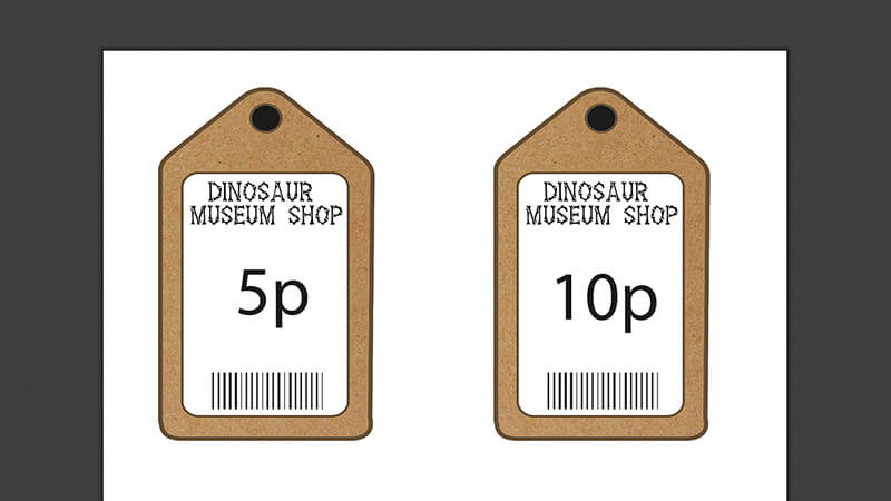Dinosaur Museum Shop Lables with amount