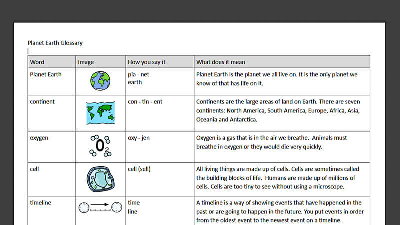 Glossary: Planet Earth